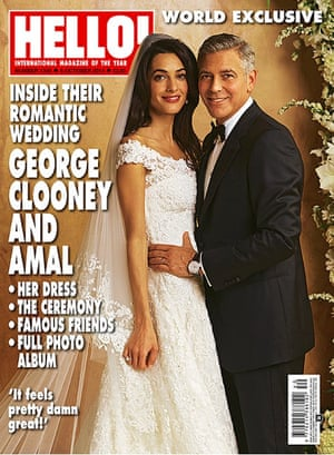 Hello magazine's cover of the wedding of Amal Alamuddin and George Clooney.