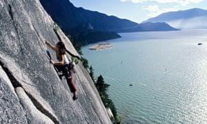 A woman rock climbing