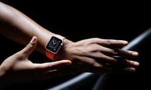The Apple Watch is worn by a model on a treadmill during a new product release in Cupertino, California.