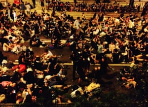 crowd relax outside Lippo Centre, admiralty
