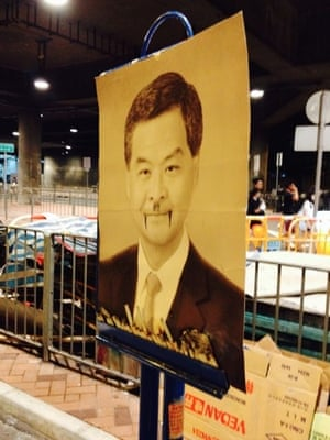 picture of HK CEO CY Leung with fangs