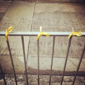 yellow ribbons on Wellington Street