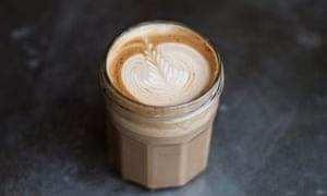 Coffee served in jamjar at Silo in Brighton