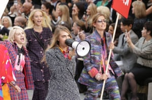 Cara Delevingne with a loudspeaker at the Chanel spring/summer 2015 show