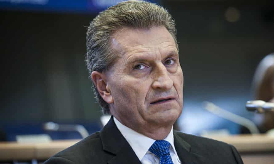Günther Oettinger during his hearing at the European parliament