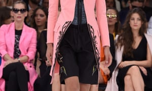 Surfer chic ... Board shorts on the Christian Dior runway.