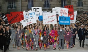 Herstory ... Protest chic at the Chanel show.