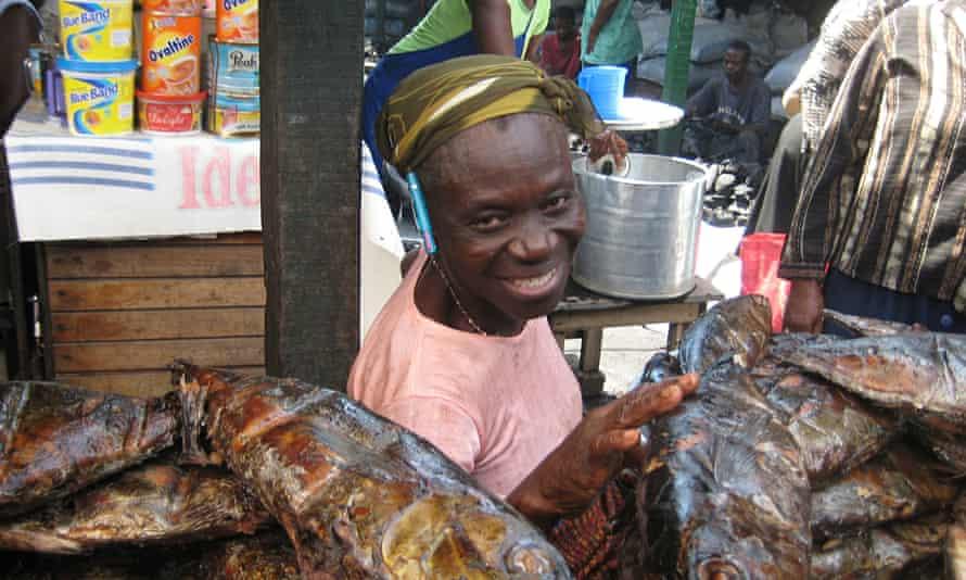 Fish vendor in Accra, Ghana