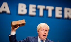 Boris Johnson addresses the party faithful.