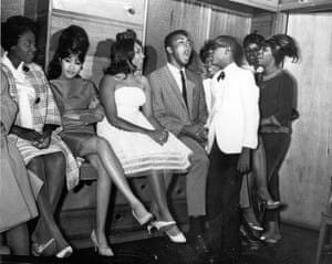 Ali was still known as Cassius Clay when this photo was taken. There's something boyish about his efforts to impress his audience. I like how one of the women, Ronnie Spector, seems impervious to his bravado. I also like knowing that the guy in the white tuxedo, who is neither overawed nor overshadowed by Clay, is a young Stevie Wonder.