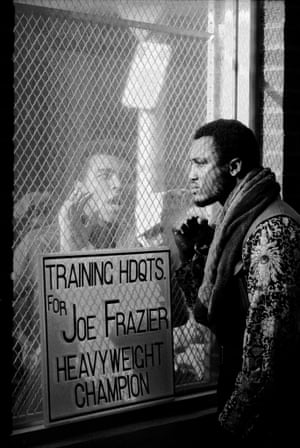 This photograph was taken ahead of the world title fight in 1971. Frazier is steadfastly trying to ignore his bitter rival but in fact you wonder if he's imprisoned by Ali's taunts – a feeling that's reinforced by the wire meshing which separates the two men. I also love how their eyes don't meet; it fills the frame with tension.