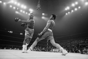 Muhammad Ali was never shy about lauding his own balletic talents in the boxing ring, and this photograph shows why. His ability to move away from his opponent, JoeFrazier, with such grace makes Frazier's haymaker look utterly crude. Ali appears to be untouchable. How ironic, then, that Frazier won the contest that was dubbed Fight of The Century.