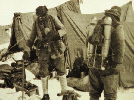 George Mallory is seen with Andrew Irvine at the base camp in Nepal.