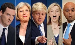 Leadership contenders: George Osborne, Theresa May, Boris Johnson, Elizabeth Truss, Sajid Javid