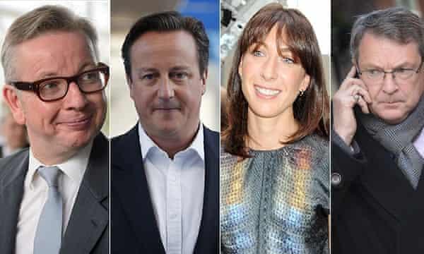 Michael Gove, David Cameron, Samantha Cameron and Lynton Crosby.