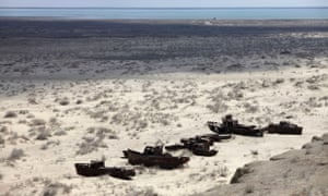 A ship graveyard near Muynak, at an area of the dried up Aral Sea in Uzbekistan.