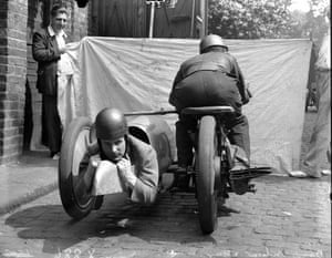 A motorcycle with reverse side car
