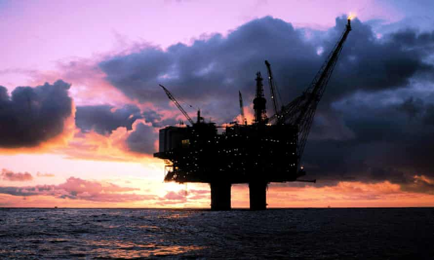 The Statfjord A-oil platform in the North Sea off the Norwegian coast.