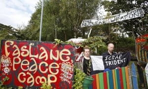 Jamie Watson and Jodie activists at The Faslane Peace Camp.