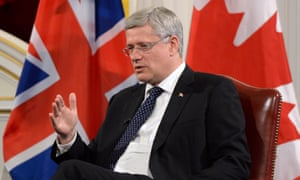 Canadian Prime Minister Stephen Harper takes part in an economic question and answer session at Mansion House in London.