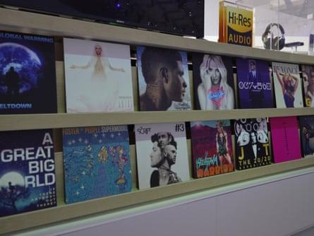 Hi-res audio albums on display