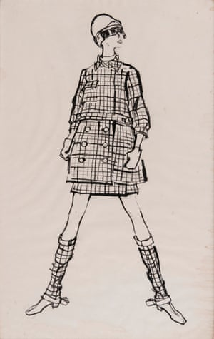 Model wearing design of checked suit and boot covers by Todd Draz for the Sunday Times, 1960s
