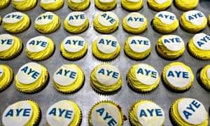 Scottish independence campaign cakes saying Aye