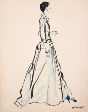 Illustration by René Bouché  for Caudbeard and American Vogue, 1950