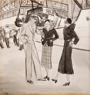 Awaiting To Embark by Carl Erickson for American Vogue, 1940s