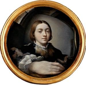 Self-Portrait in a Convex Mirror (c 1524) by Parmigianino.