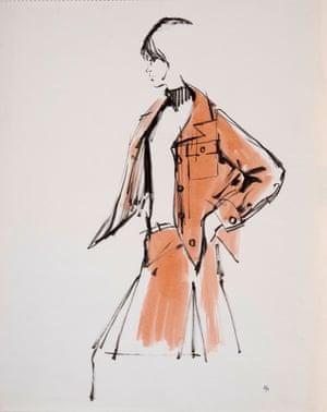 Illustration of Dior model Christine Tidmarsh by Eva Aldbrook, 1956