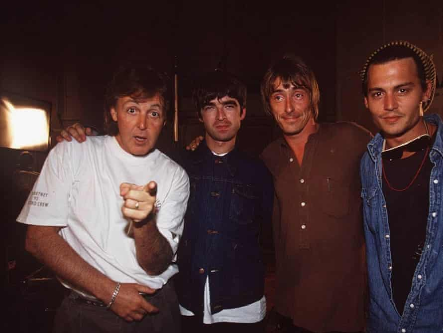 Paul McCartney, Noel Gallagher, Paul Weller and Johnny Depp recording Help at the Abbey Road Studios, 1995