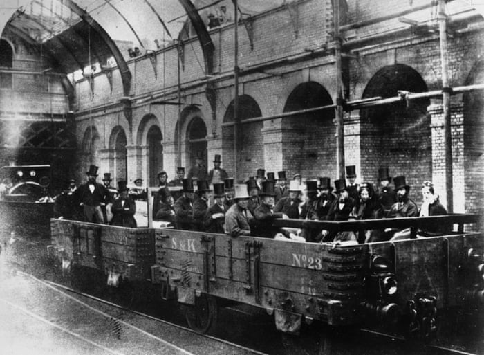 William Gladstone with directors and engineers of the Metropolitan railway company on an inspection of the world's first underground line, London, May 1862.