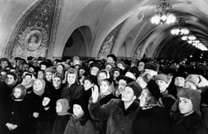 Muscovites look at the new Taganskaya underground station in Moscow, Russia, January 1950.