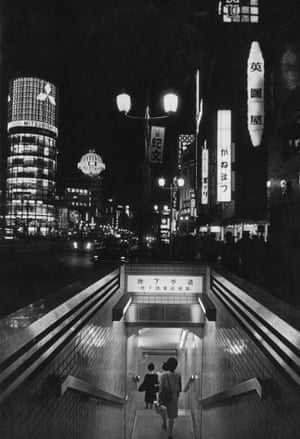 One of the 48 entrances to the world's largest underground railway station, under the Ginza, Tokyo's shopping and entertainment centre, circa 1950.