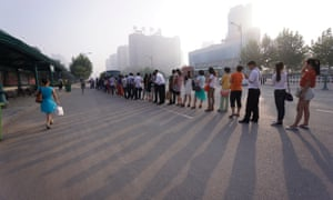 Queuing for the bus in Beijing