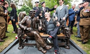 Terry Gilliam chats with the Spike Milligan statue unveiled in Finchley, north London