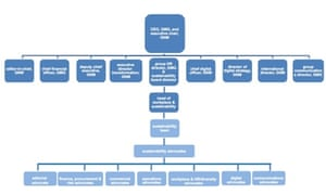 Governance structure of sustainability at the Guardian for the Living our values 2014 report