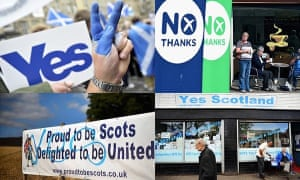 A composite of images from the Scottish independence referendum campaign