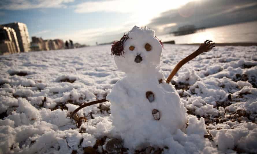 Snowman on Brighton beach