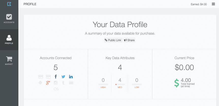 Datacoup's data profile page.