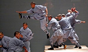Monks from Shaolin temple rehearse a dance for the annual Singapore arts festival.