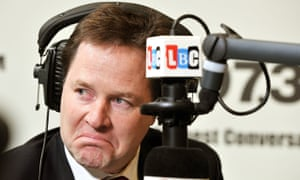 Nick Clegg during his LBC radio phone-in