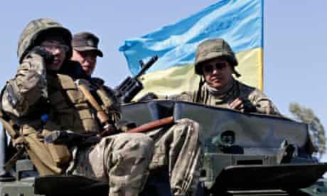 Soldiers of Ukrainian self-defence battalion Azov
