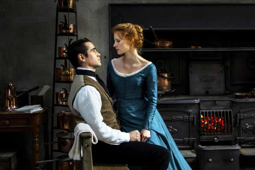 Colin Farrell and Jessica Chastain in Miss Julie.
