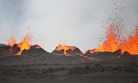 Lava flows from cracks in the ground at Bardabunga