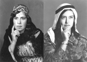 Fatima Hammdo in traditional dress and army uniform in the 1970s