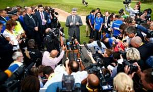 Ukraine's President Petro Poroshenko speaks to the media at the Nato summit, Wales