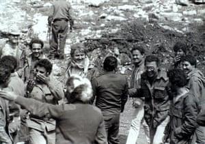 George Hawi visiting a Communist Militia Camp, Ayoun Al Siman Mountains, 1976