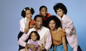 THE COSBY SHOW -- Season 1 -- Pictured: (clockwise from top left) Tempestt Bledsoe as Vanessa Huxtable, Malcolm-Jamal Warner as Theodore 'Theo' Huxtable, Lisa Bonet as Denise Huxtable, Phylicia Rashad as Clair Hanks Huxtable, Keshia Knight Pulliam as Rudy Huxtable, (center) Bill Cosby as Dr. Heathcliff 'Cliff' Huxtable -- Photo by: Frank Carroll/NBCU Photo Bank 1980s|1984-1985|cast|color|comedy|eye contact|gallery|group|horizontal|indoor|NBCU Photo Bank|NUP_101903|portrait|seamless|Season 1|select|smiling|studio